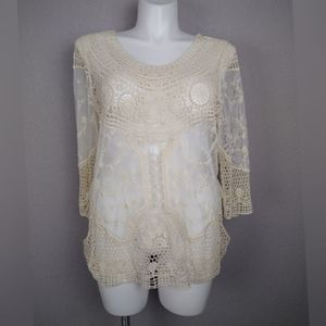 Maurices Crochet & Embroidered Mesh Top Size 1
